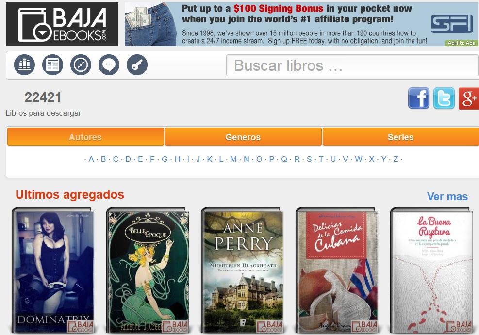 Captura de pantalla de bajaebooks